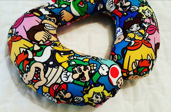 Super Mario Travel Pillow Boys Neck Pillow Geek by Happynightowls - travel accessories for geeks