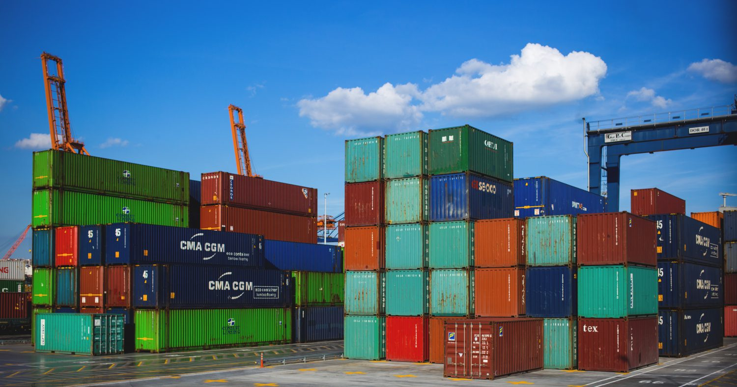 Shipping containers ready to load on a container ship.