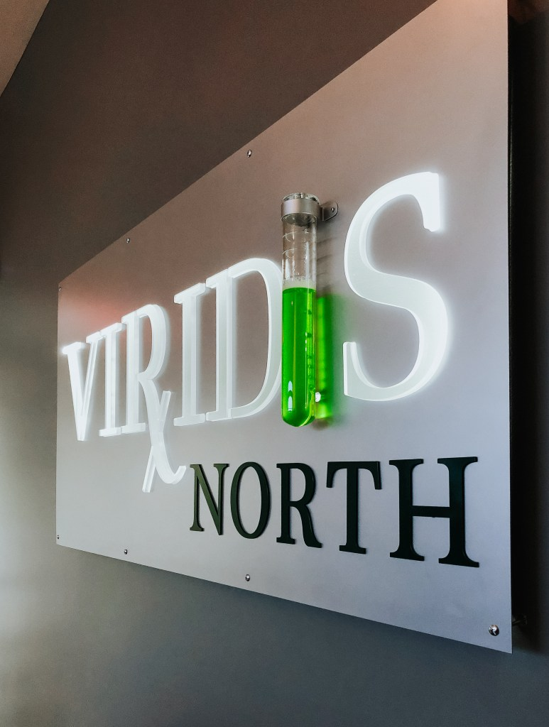 Virdis Steel and acrylic sign with bubbling test tube