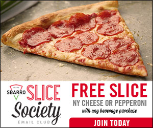 Get a Free Slice of Sbarro Pizza with Purchase {Expires 7/1}