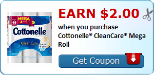 Coupon Savings 7/10: Earn $2 When You Purchase Cottonelle CleanCare Mega Roll and More!