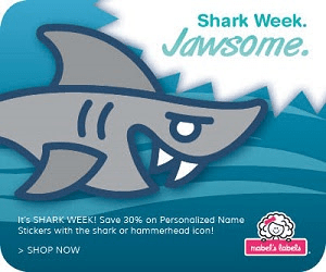 CHOMP! Save 30% on Shark Themed Personalized Name Stickers at Mabel's Labels Ends 7/12