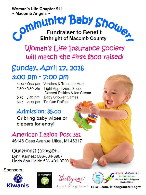 Community Baby Shower Sunday, April 17th, 2016-Utica