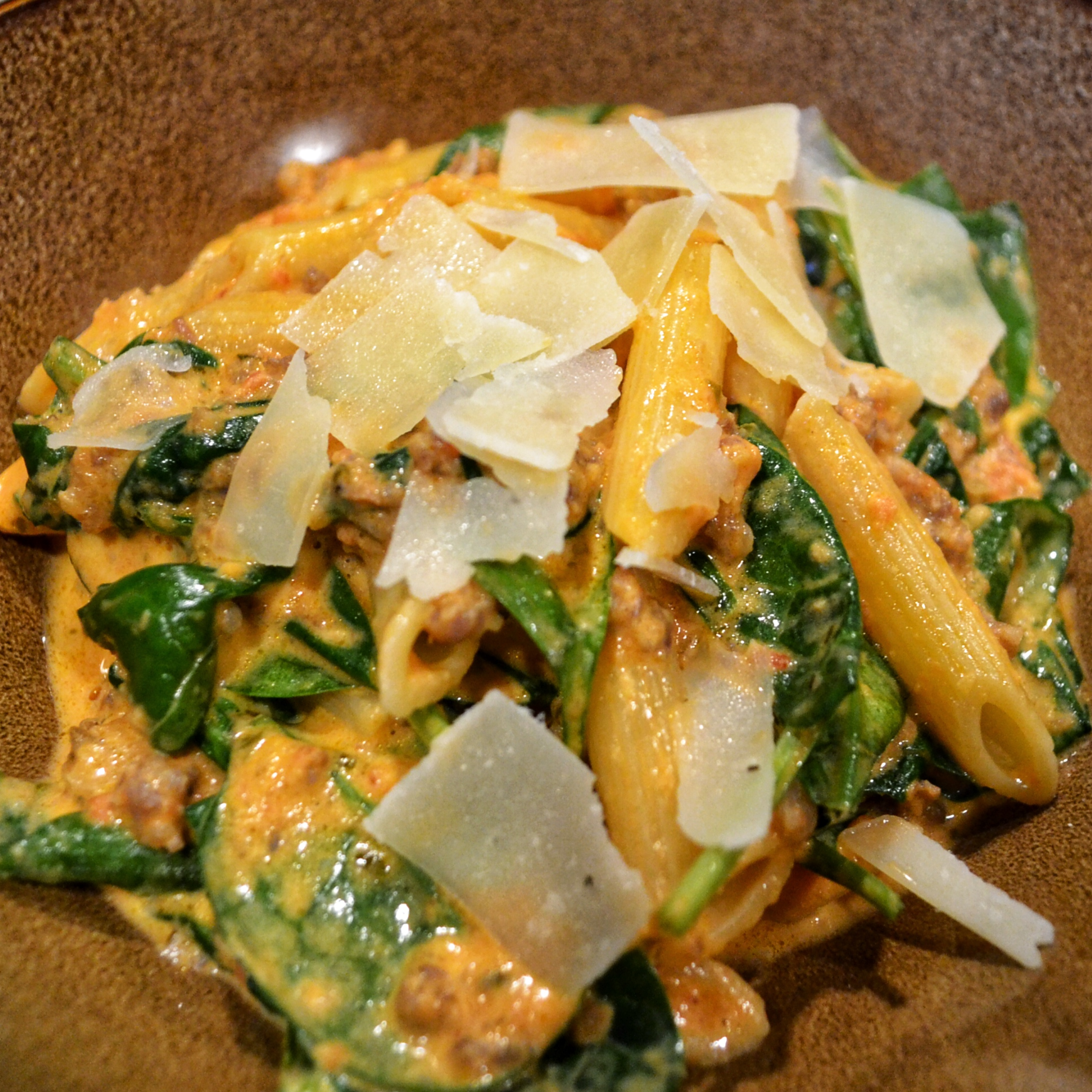 Creamy Italian Sausage and Tomato Sauce with Penne Pasta or Zoodles Recipe