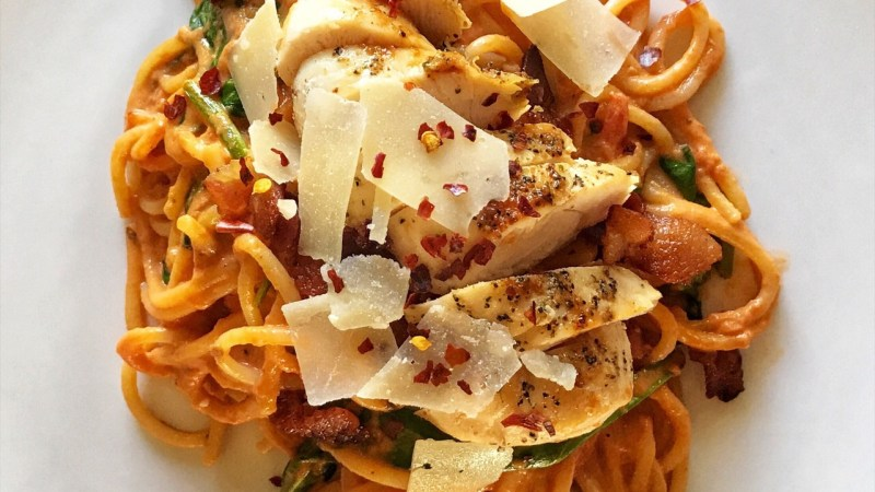Bacon, Chicken, and Spinach Recipe in a Creamy Tomato Sauce