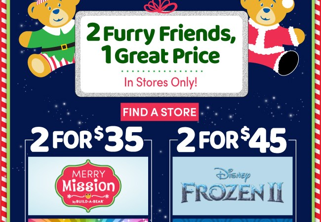 Build-A-Bear Workshop Entire Store on Sale – 2 Furry Friends, 1 Great Price!