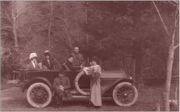 "Allegedly the first automobile in Humbolt County, California  from ""Historic Images of Fortuna & Area"" This seems to be a 1912 Model K. Note pin striping on the hood, nickel headlight bezel and painted radiator. Car is right hand drive."