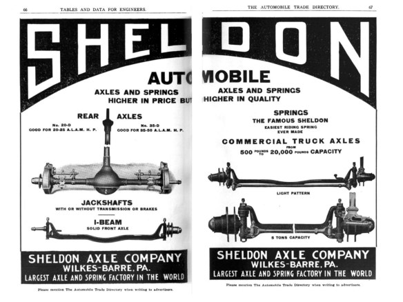 CLICK ON IMAGE TO ENLARGE Sheldon Axle Company advertisment, The Automobile Trade Directory, Apr. 1911