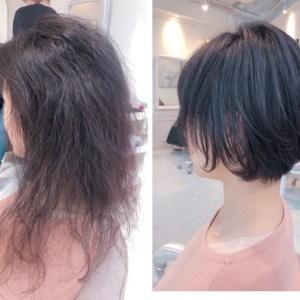 丸い縮毛矯正で、広がる髪を可愛いショートボブに。