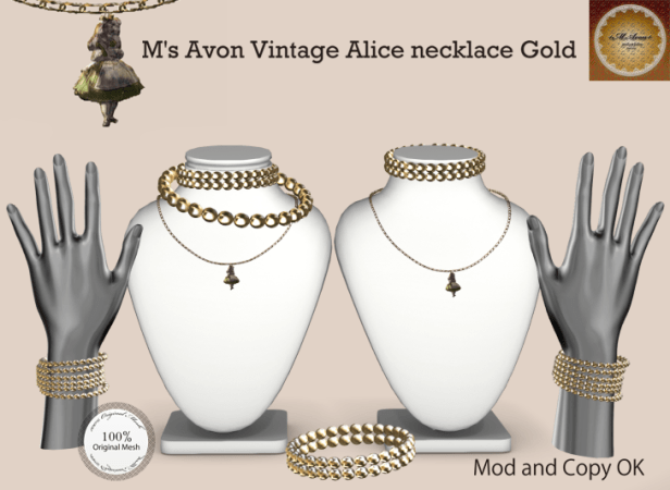M's Avon Vintage Alice necklace Gold