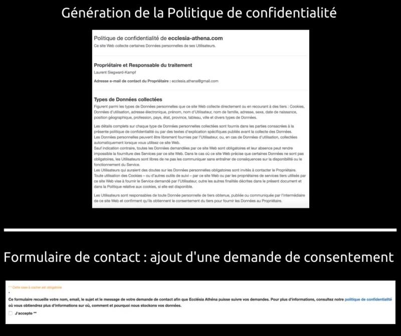 RGPD - Politique de confidentialité - demande de consentement