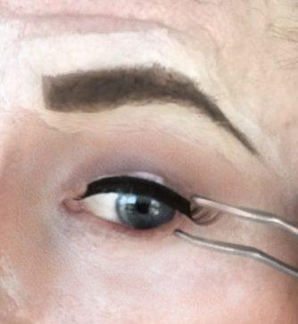 crossdresser makeup for false eyelash application