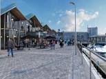 New waterside promenade and media building