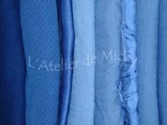 Teintures indigos tissus laine et soie