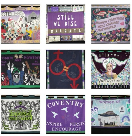 An image of the procession banners from the women making history guide on the Bloomberg Connects app