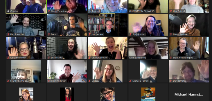 A zoom call of our meetup of podcasters