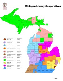 State of Michigan map, color coded by the eleven cooperative service areas