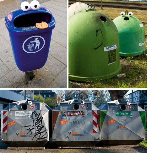 Urban interventions which call attention to trash cans