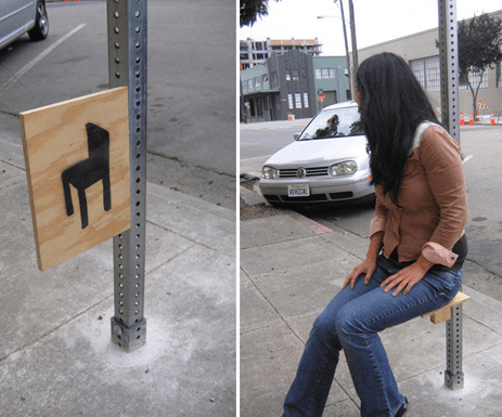 Instant seating. Hack a pole. Not sure who this is by?