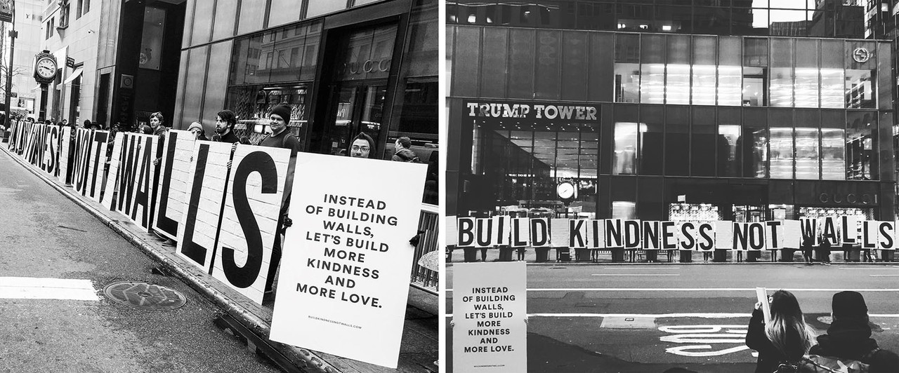 """Jessica Walsh and Timothy Goodman's kindness """"wall"""" around Trump Tower in NYC."""