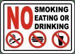 No smoking eating or drinking