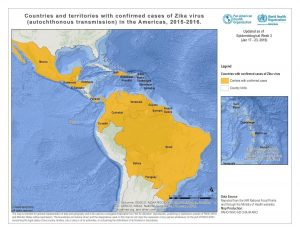 Countries and territories with confirmed cases of Zika virus