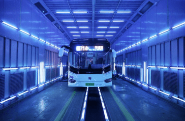 Disinfection of a bus using UVC lights