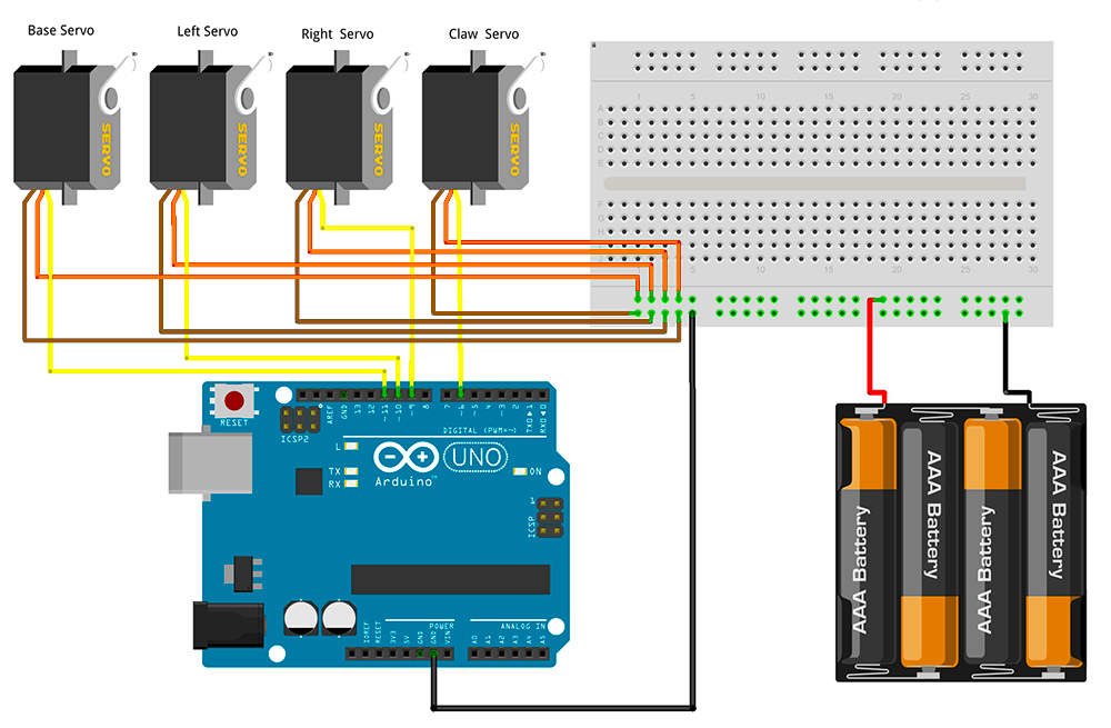 ArmUno MeArm Arduino Servo Wire Schematic
