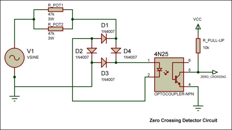 Zero crossing detector circuit using optocoupler