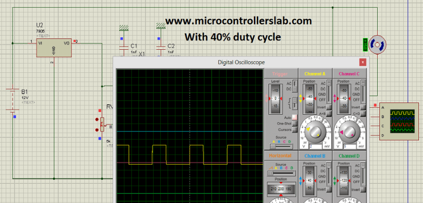 Circuit diagram of speed control of DC motor pic microcontroller simulation in proteus