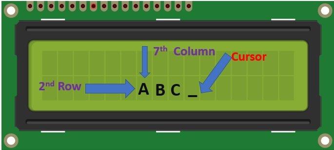 LCD cursor position display on Arduino