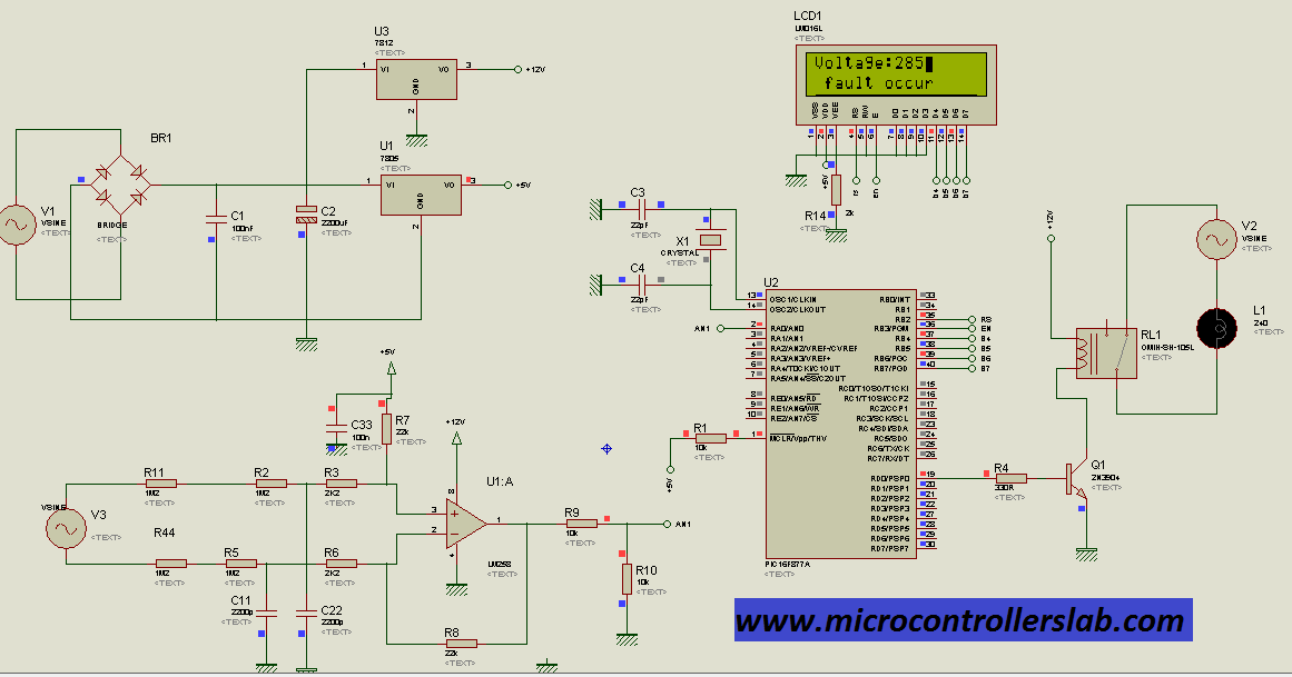 circuit diagram of Smart under and over voltage protection system for home when fault occur