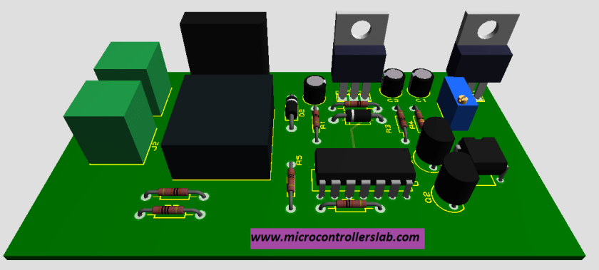 Front view of PCB firing angle control circuit for triac