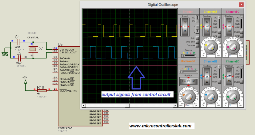 output of control circuit for modified sine wave inverter