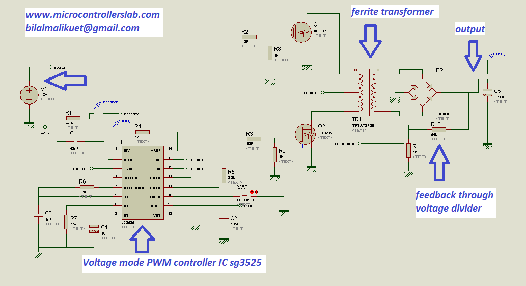 push pull dc to dc converter complete circuit diagram