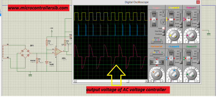 simulation schematic of firing angle control circuit for triac