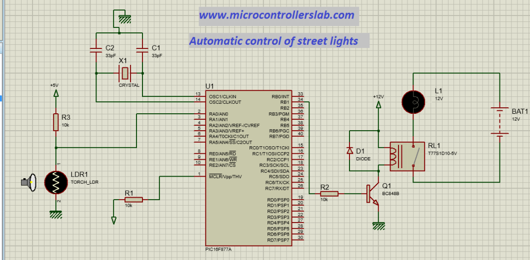 circuit diagram of automatic control of street lights