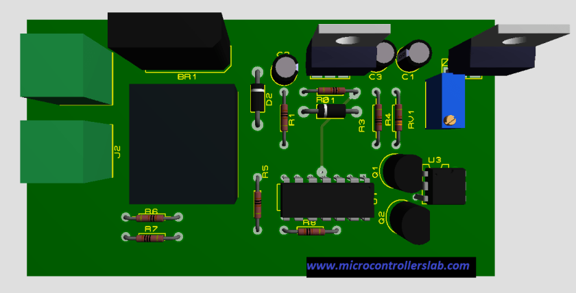 top view of firing angle control circuit for triac