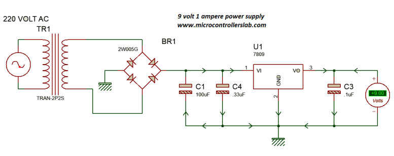 Circuit diagram of 9 volt and 1 Ampere power supply