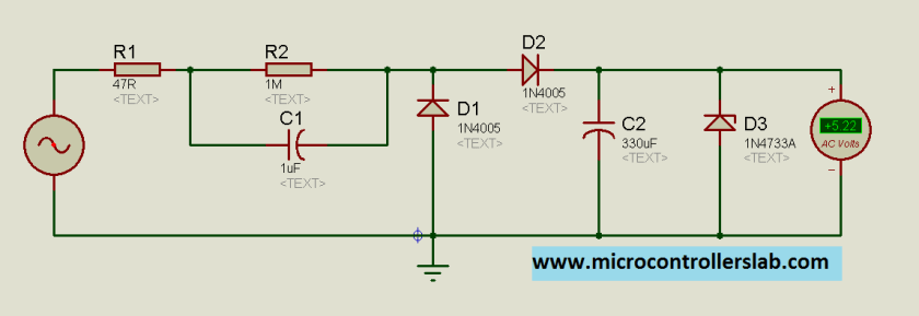 Schematic of transformerless power supply