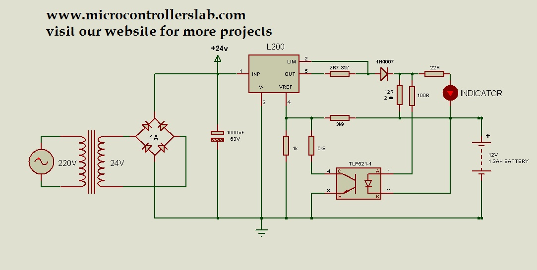 12 volt 13AH battery charger circuit diagram