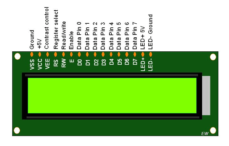 16X2 LCD Pinout diagram tutorial