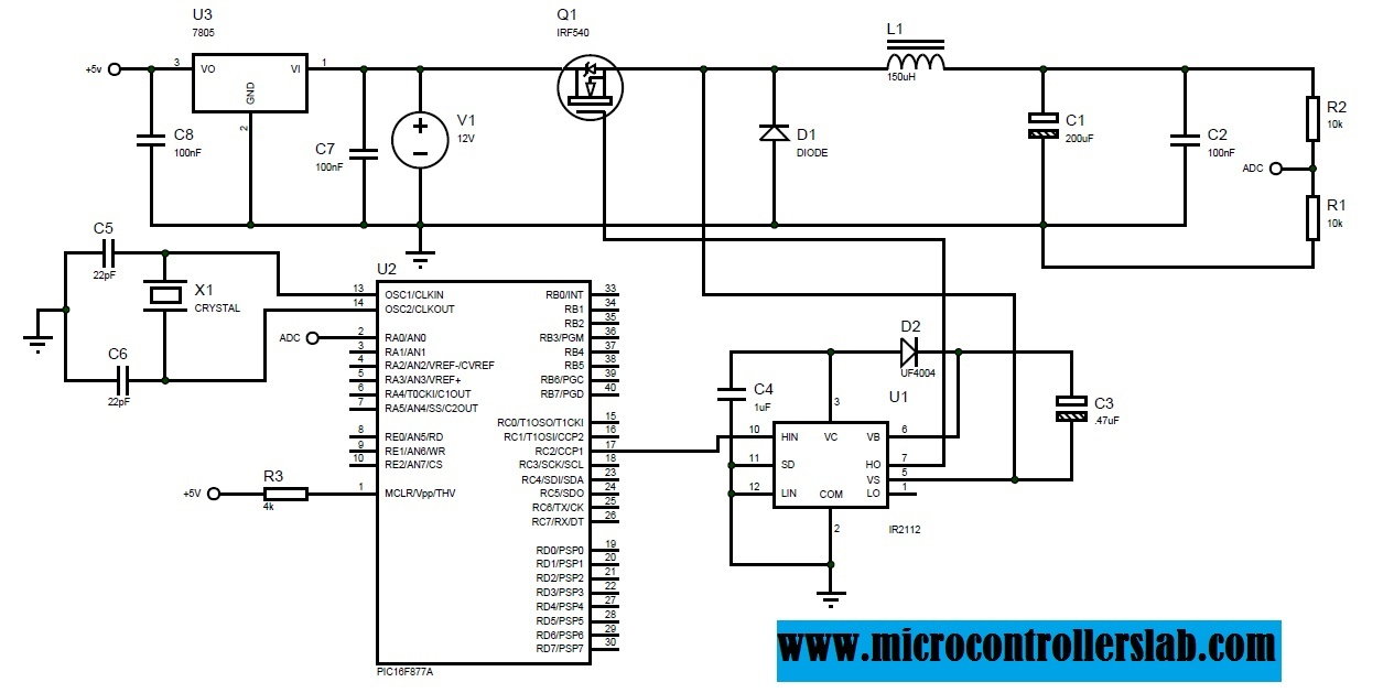 Buck Converter Using Pic Microcontroller And Ir2110 Measures Resistance Without An Adc