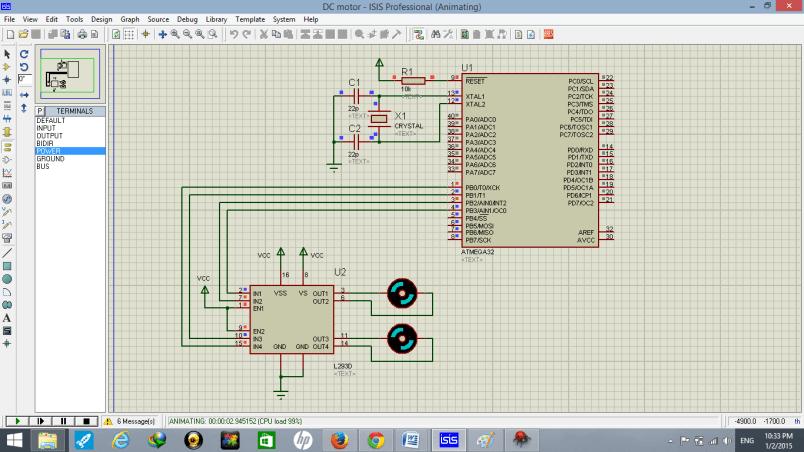 dc motor interfacing with atmega32 microcontroller  simulation