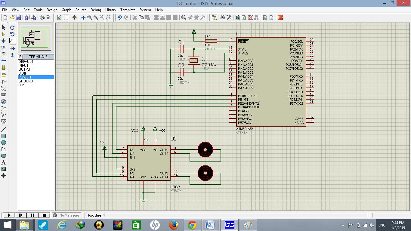 DC motor interfacing with atmega32 and L293