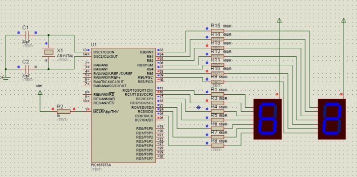 Seven segment display interfacing with pic16f877Aa microcontroller