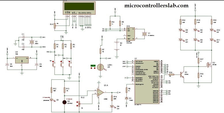 circuit diagram of auto intensity control of street lights using pic microcontroller