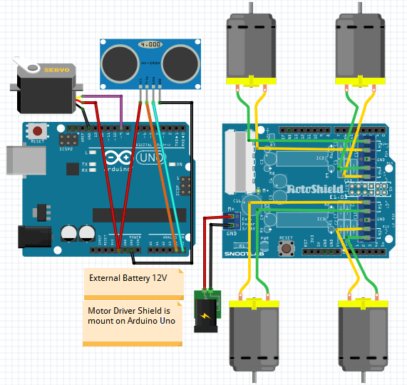 obstacle avoidance robot using arduino circuit diagram
