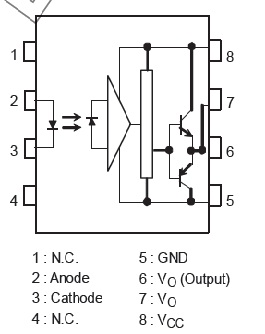 isolated MOSFET driver TLP250 pinout diagram