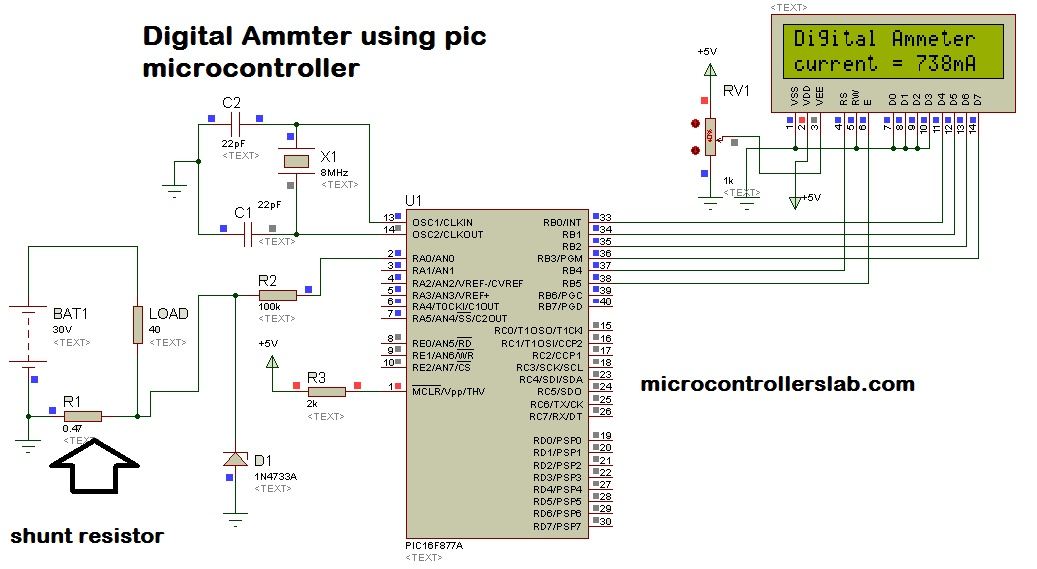 Digital Ammeter circuit and project using pic microcontroller on